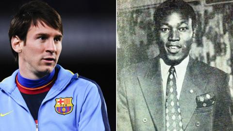 Barcelona's Lionel Messi (left) and Zambia striker Godfrey Chitalu (right)