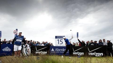 Scotland's Marc Warren drives off at the 15th still in contention to win the Scottish Open