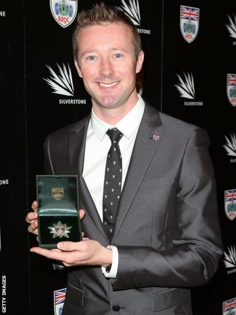 Gordon Shedden poses with the British Racing Drivers Club Silver Star, awarded for the strongest performance of the year in domestic motorsport. Shedden won his first British Touring Cars title at Brands Hatch with a race to spare on the final day of the championship