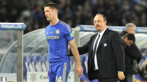 Gary Cahill is consoled by manager Rafael Benitez
