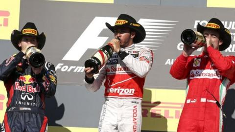 Sebastian Vettel (l), Lewis Hamilton and Fernando Alonso