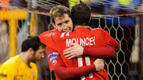 Richard Lecky celebrates with Tim Mouncey after scoring Portadown's second goal against Glenavon