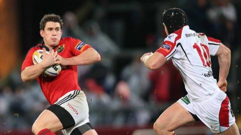 Action from Munster against Ulster at Thomond Park