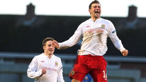 Linfield striker Matthew Tipton celebrates his first goal for the club in the 3-0 victory over Glenavon
