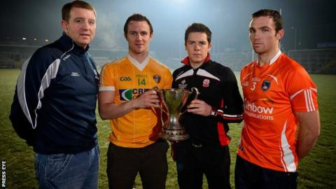 Fermanagh's Ronan Gallagher, Micheal McCann of Antrim, Dermot McBride (Derry) and Armagh's Brendan Donaghy at the launch of the 2013 McKenna Cup