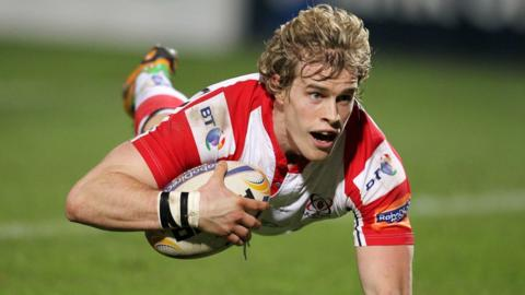 Winger Andrew Trimble dives over to score the third of Ulster's five tries in the 47-17 Pro12 win over Scarlets