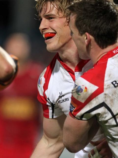 Andrew Trimble is congratulated by Ulster team-mate Craig Gilroy after scoring in the 47-17 victory over Scarlets at Ravenhill