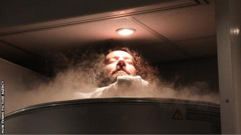 Wales prop Adam Jones 'enjoys' a cryotherapy session at a training camp