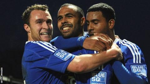 Matthew Barnes-homer celebrates his winning goal for Macclesfield against Cardiff