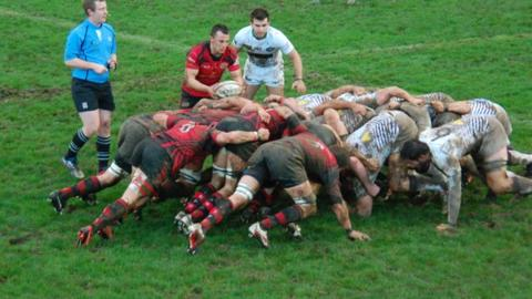 Scrum between Jersey and Leeds