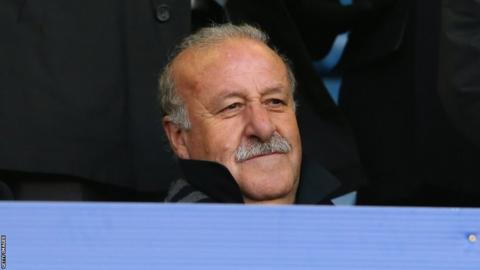 Spain manager Vicente del Bosque takes his seat at Goodison Park to watch Swansea City's Spanish contingent, including top scorer and man of the moment Michu