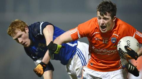 Padraig Reilly of Cavan in action against Ethan Rafferty whose Armagh lost the McKenna Cup game 3-09 to 1-11