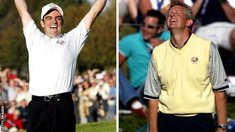 Europe's Ryder Cup contenders Paul McGinley and Colin Montgomerie celebrate sinking the winning putts in 2002 and 2004 respectively
