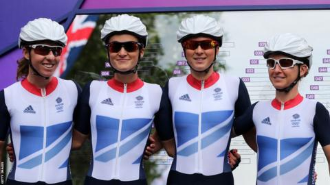 Nicole Cooke also played her part at the 2012 London Olympics, helping support Lizzie Armistead (second left) win silver in the women's road race