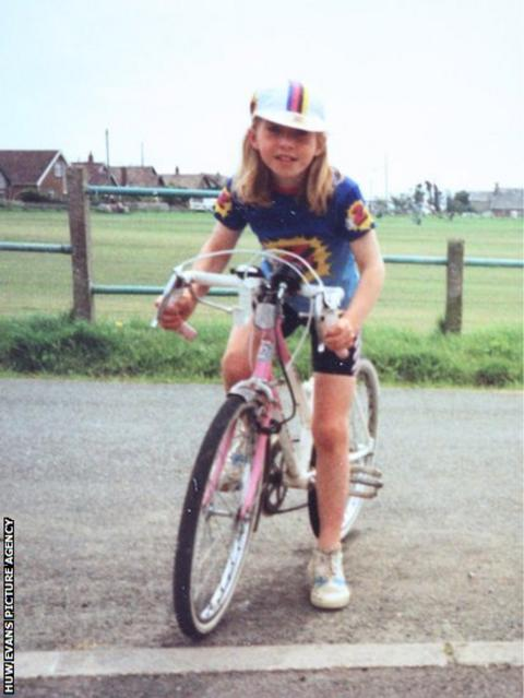 Nicole Cooke, on her first racing bike aged nine, near her home in south Wales