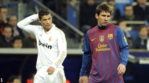 Cristiano Ronaldo (left) and Lionel Messi form a dream frontline in the Uefa Team of the Year vote