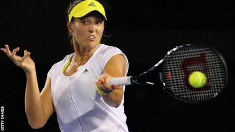Laura Robson plays a shot against Petra Kvitova