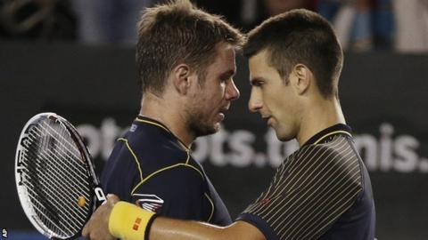 Stanislas Wawrinka and Novak Djokovic
