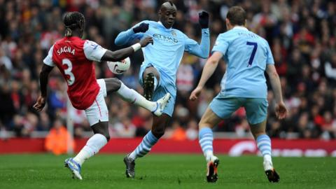 Arsenal's Bacary Sagna , Mario Balotelli and James Milner