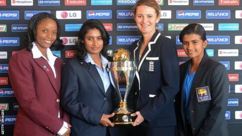 Captains Merissa Aguilleira (West Indies), Mithali Raj (India), Charlotte Edwards (England) and Shashikala Sirawardene (Sri Lanka) with the World Cup