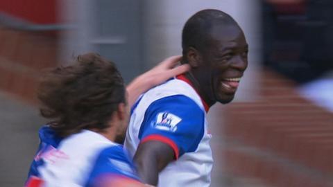 Christopher Samba celebrates after his goal for Blackburn against Norwich