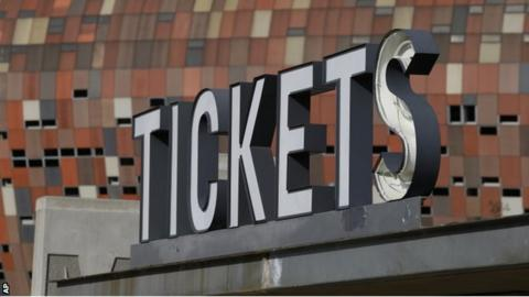 A tickets sign outside Soccer City stadium in Johannesburg