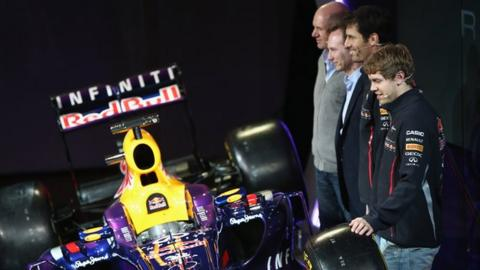 Red Bull's new RB9 is admired by Adrian Newey, Christian Horner, Mark Webber and Sebastian Vettel