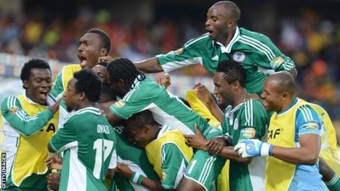 Nigerian players celebrate