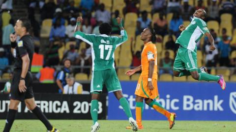 Nigeria celebrate their quarter-final victory over Ivory Coast
