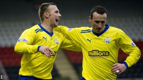 Colin McMenamin celebrates scoring for Morton