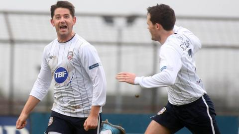 Curtis Allen and David Scullion scored in Coleraine's 3-2 win at Ballymena in the sixth round of the Irish Cup