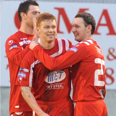 Portadown defender Chris Casement celebrates after scoring the goal in the 1-0 Irish Cup win over Ards