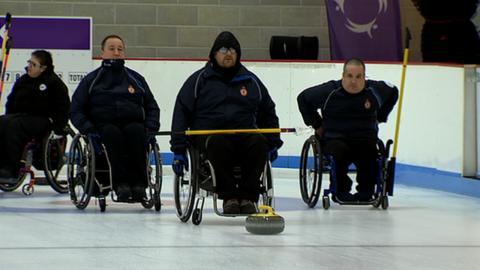 Scotland's Wheelchair Curling team training