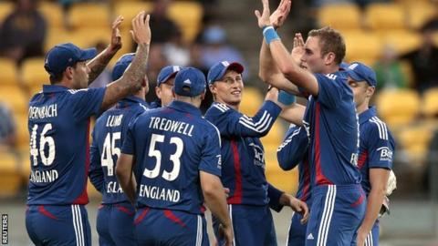 England captain Stuart Broad celebrates a wicket in Wellington