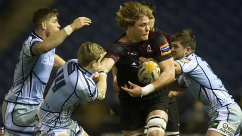 Cardiff Blues and Edinburgh players