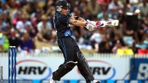 New Zealand skipper Brendon McCullum hits out in his match-winning unbeaten 69
