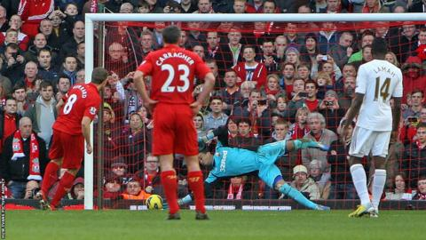 Steven Gerrard strikes a penalty past Michel Vorm to give Liverpool the lead over Swansea in their Premier League game at Anfield