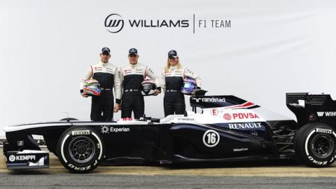 Williams drivers Pastor Maldonado, Valtteri Bottas and Susie Wolff with the team's new car