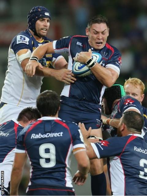 Melbourne Rebels skipper Gareth Delve takes a line-out in his side's 30-13 Super Rugby defeat by the Brumbies