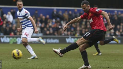 Ryan Giggs scores Manchester United's second in their 2-0 win over QPR in the Premier League on his 999th senior appearance