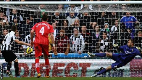 Yohan Cabaye scores from the spot for Newcastle against Southampton