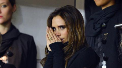 A nervous looking Victoria Beckham watched on from the stands as husband David prepared to debut