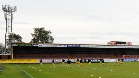 The away terrace at Aggborough