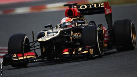 Romain Grosjean driving Lotus Formula 1 car