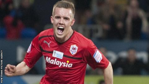 Craig Noone celebrates his equaliser for Cardiff City