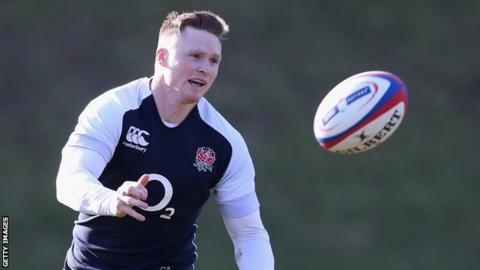 England rugby player Chris Ashton in training