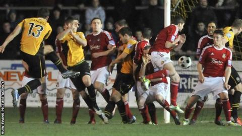 Newport playing against Wrexham in the Blue Square Bet Premier