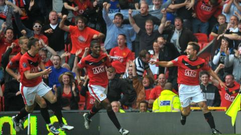 Michael Owen celebrates his winning goal for Manchester United against Manchester City