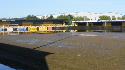 Gloucester City's flooded Meadow Park ground in 2007
