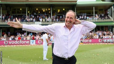 Jonathan Agnew does the Sprinkler dance during the last Ashes tour